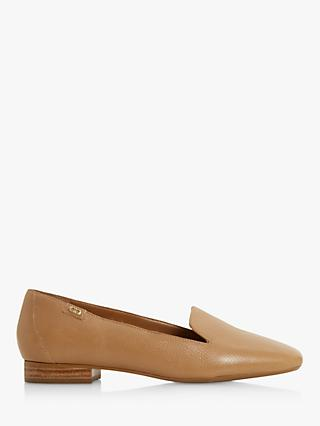 Dune Gael Square Toe Leather Loafers, Caramel