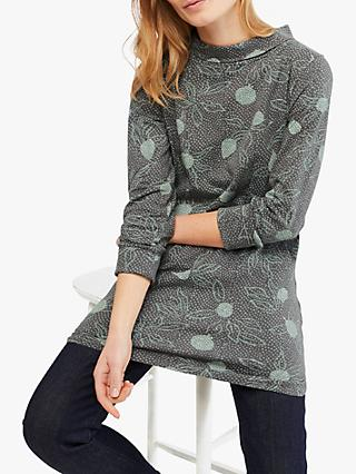 White Stuff Petal Jersey Cotton Tunic Top, Green Multi