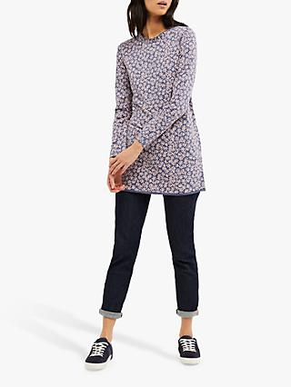 White Stuff Effie Floral Jersey Tunic, Navy/Multi