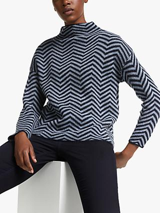 Kin Herringbone Knit Jumper, Blue