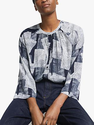 Kin  Broken Linear Print Top, Navy/White