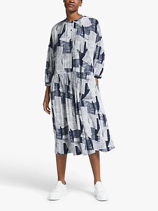 Kin Linear Print Smock Dress, Navy/White