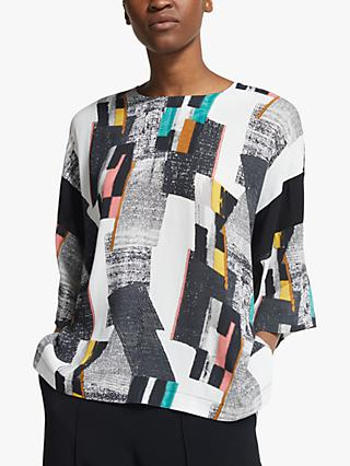 Kin Modernist Print Top, White/Multi