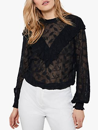 Mint Velvet Semi Sheer Ruffled Top, Black