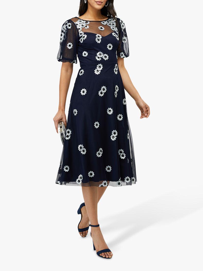 Monsoon Monsoon Bryony Daisy Dress, Navy