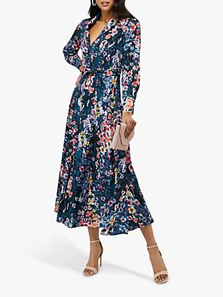 Monsoon Fawn Floral Print Shirt Dress, Blue