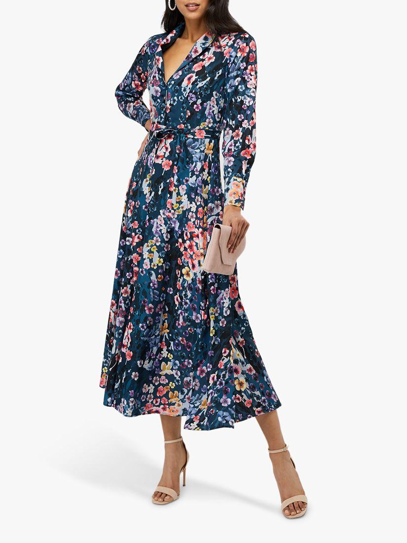 Monsoon Monsoon Fawn Floral Print Shirt Dress, Blue