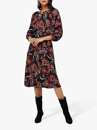 Monsoon Danny Paisley Print Midi Dress, Black