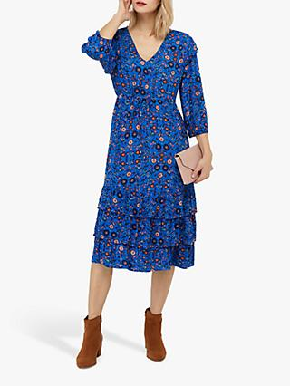 Monsoon Tilly Floral Print Dress, Blue