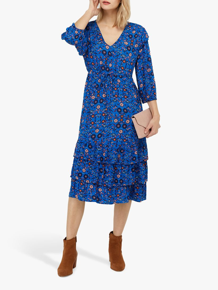 Monsoon Monsoon Tilly Floral Print Dress, Blue