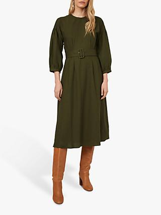 Warehouse Linen Belted Dress, Khaki