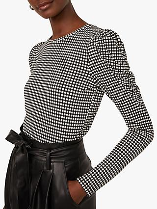Warehouse Check Puff Sleeve Top, Black