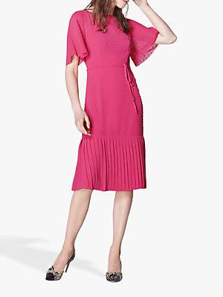 L.K.Bennett Boe Spot Pleat Hem Dress, Fuchsia