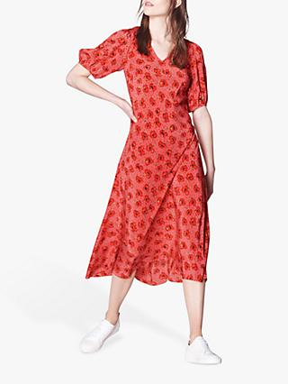 L.K.Bennett Simpson Poppy Print Silk Midi Dress, Pink/Red
