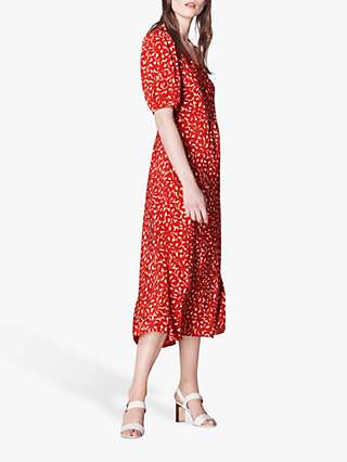 L.K.Bennett Simpson Bow Print Silk Dress, Red
