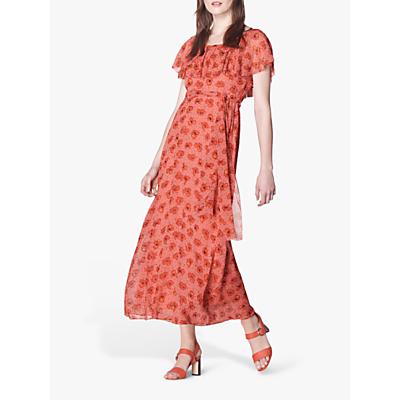 L.K.Bennett Clara Floral Silk Maxi Dress, Pink/Red