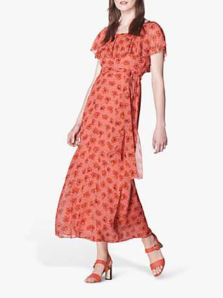L.K.Bennett Clara Floral Silk Maxi Dress, Pink/Red