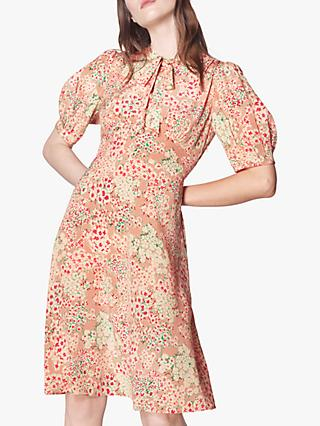 L.K.Bennett Marceau Floral Print Silk Dress, Blush/Multi