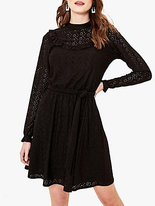Oasis Broderie Bib Dress, Black