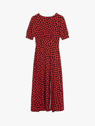 Oasis Large Heart Print Midi Dress, Red/Multi