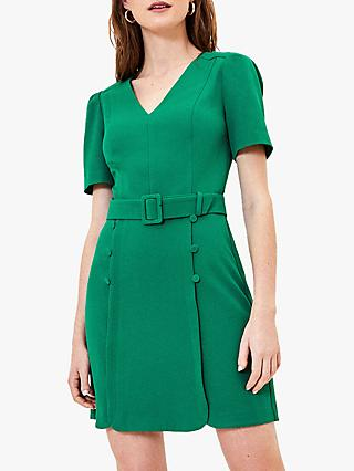 Oasis Button Detail Mini Dress, Mid Green