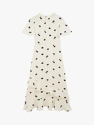 Oasis Leaf Print Midi Dress, Neutral/Multi