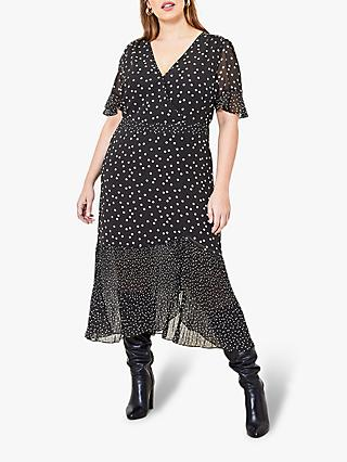 Oasis Curve Spot Print Midi Dress, Black/White