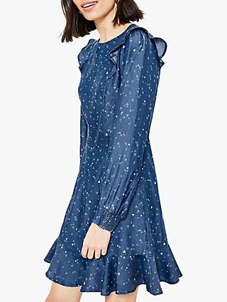 Oasis Heart Print Ruffle Dress, Mid Blue