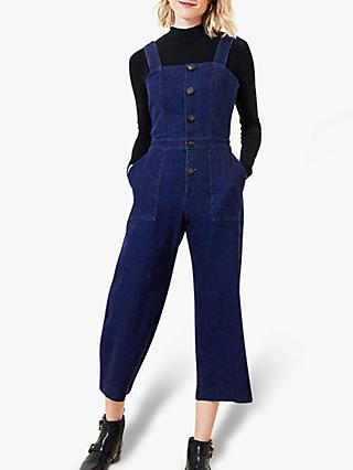 Oasis Button Denim Jumpsuit, Dark Wash