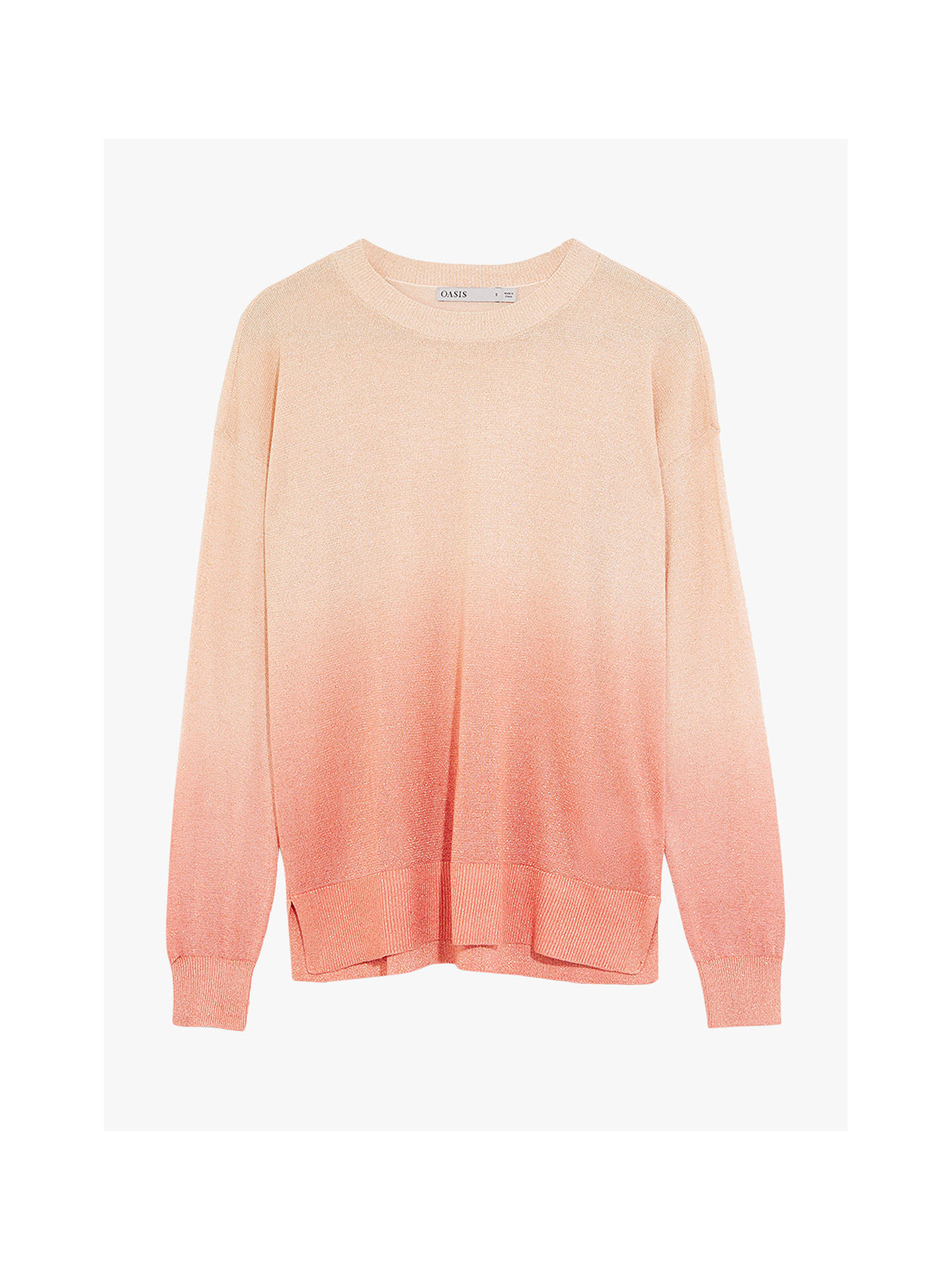 Buy Oasis Ombre Sparkle Jumper, Rose Gold, S Online at johnlewis.com