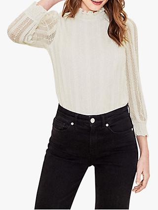 Oasis Lace Mesh Blouse, Off White
