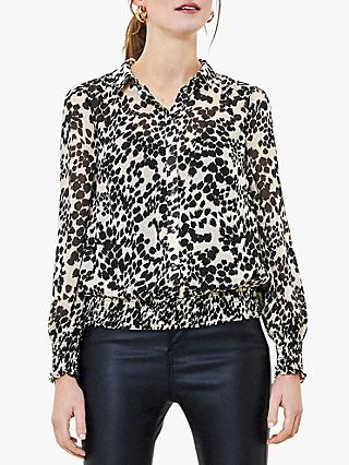 Oasis Smudge Print Sheer Blouse, Black/White