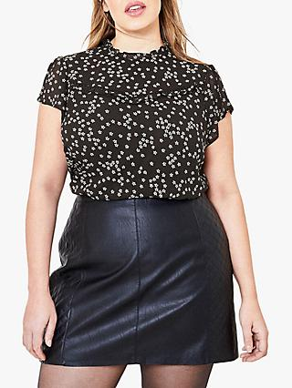 Oasis Curve Daisy Print Top, Black/Multi