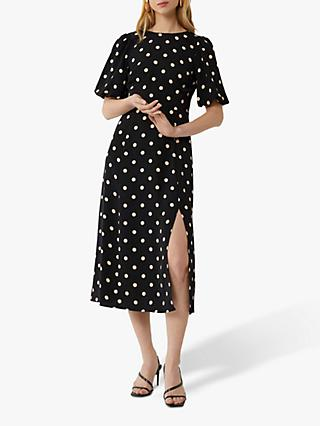 Warehouse Spot Puff Midi Dress