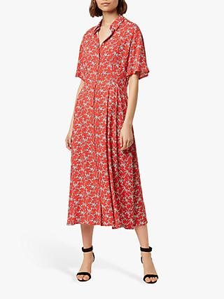 French Connection Cerisier Short Sleeve Shirt Dress, Flame/Multi