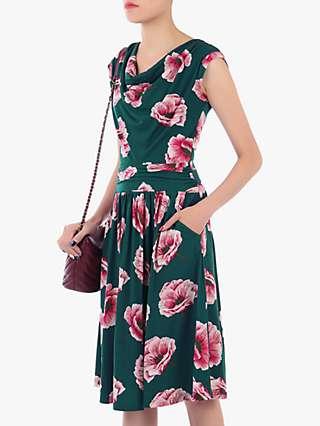 Jolie Moi Cowl Neck Floral Print Jersey Midi Dress, Teal Floral
