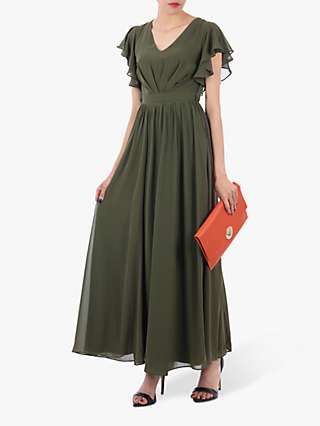 Jolie Moi Ruffle Sleeve Bridesmaid Dress, Soldier Green