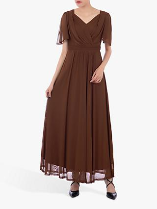 Jolie Moi Mesh Flute Sleeve Maxi Dress