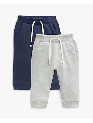 John Lewis & Partners Baby Organic Cotton Joggers, Pack of 2, Grey/Navy