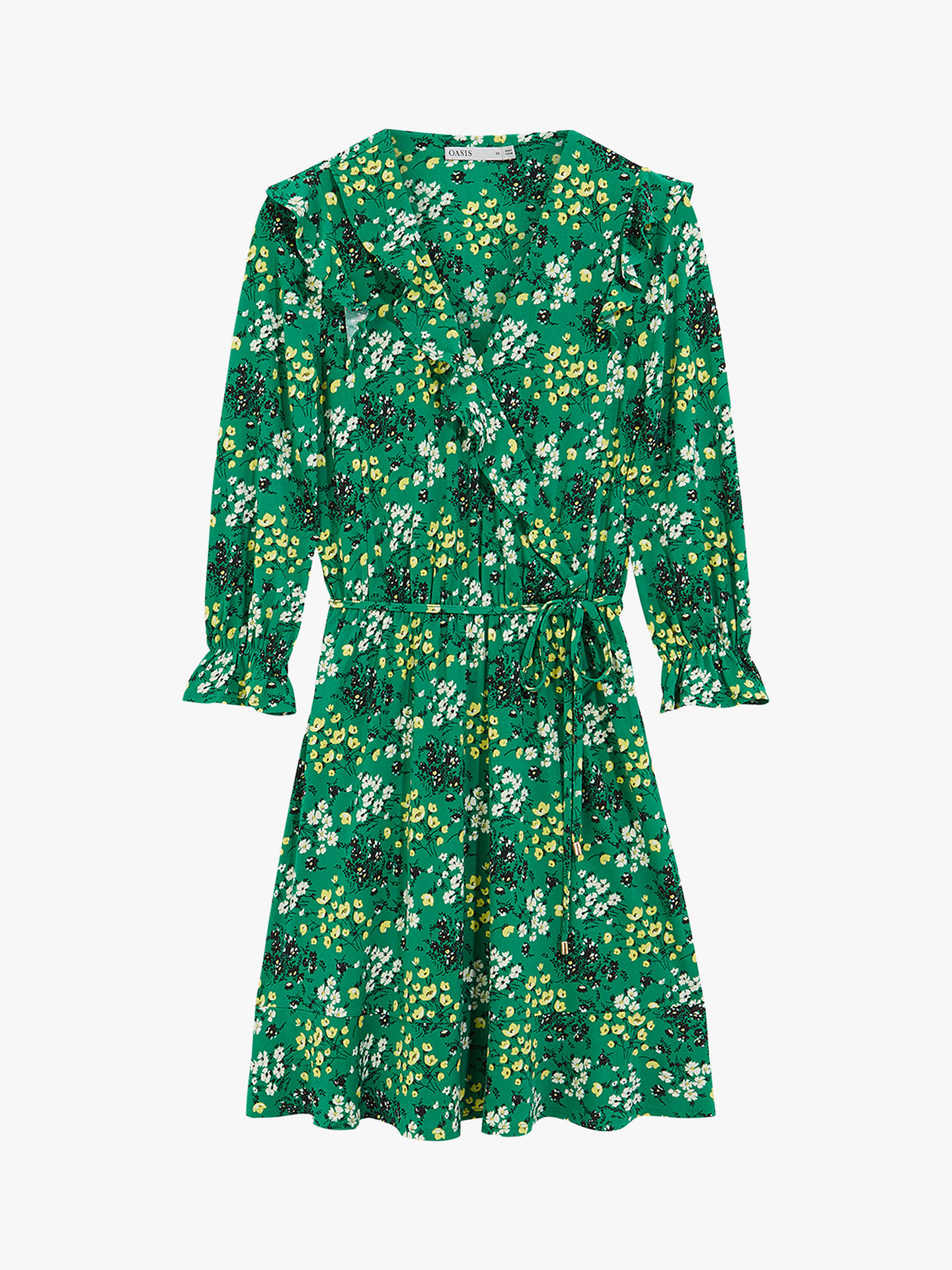 Buy Oasis Ditsy Ruffle Floral Wrap Mini Dress, Long, XS Long Online at johnlewis.com