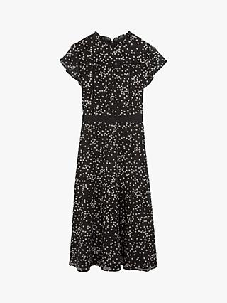 Oasis Daisy Print Long Dress, Black