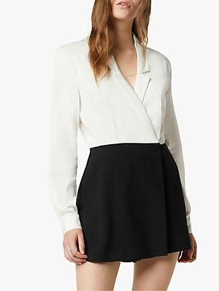 French Connection Chinaza Drape Tuxedo Playsuit, Summer White/Black