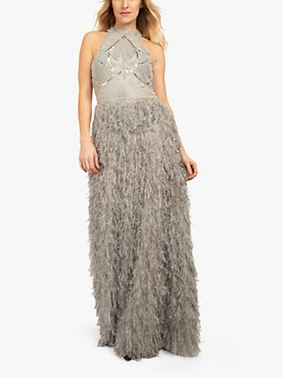 Beaded Dreams Embellished Faux Fur Maxi Dress, Microchip Grey
