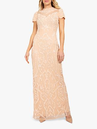 Beaded Dreams Sequin Embellised Floral Maxi Dress, Blush