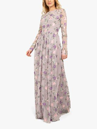 Beaded Dreams Embellised Embroided Maxi Dress, Light Lilac