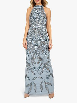 Beaded Dreams Embellished Halter Maxi Dress, Baby Blue