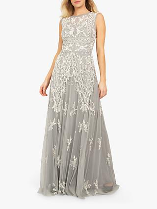 Beaded Dreams Embellished Sleeveless Maxi Dress, Light Grey