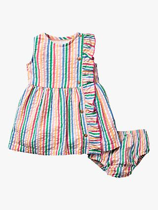 Mini Boden Baby Woven Ruffle Dress and Knickers Set, Multi