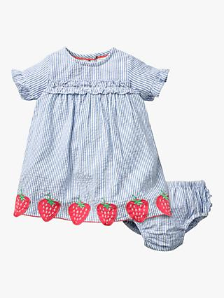 Mini Boden Baby Stripe Dress and Knickers Set, Blue Strawberries