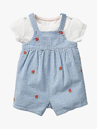 Mini Boden Baby Strawberry Embroidered Gingham Romper Set, Blue